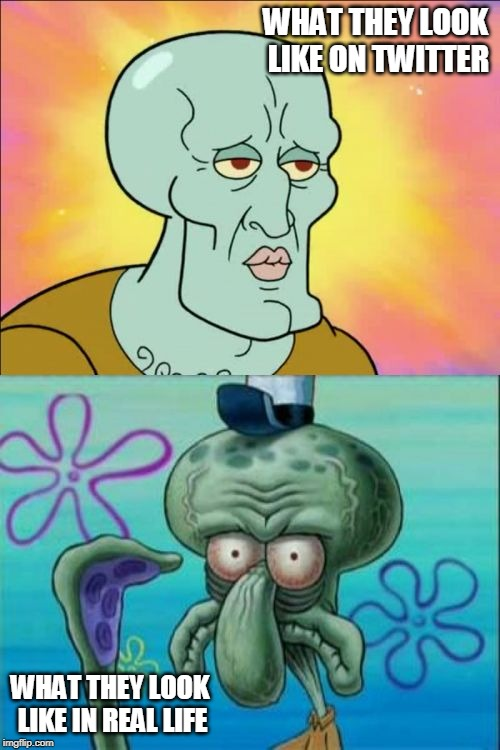Squidward | WHAT THEY LOOK LIKE ON TWITTER WHAT THEY LOOK LIKE IN REAL LIFE | image tagged in memes,squidward | made w/ Imgflip meme maker