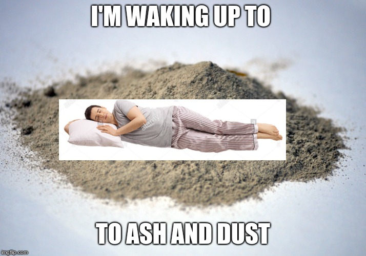 pile of dust |  I'M WAKING UP TO; TO ASH AND DUST | image tagged in pile of dust | made w/ Imgflip meme maker