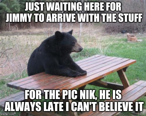 Bad Luck Bear |  JUST WAITING HERE FOR JIMMY TO ARRIVE WITH THE STUFF; FOR THE PIC NIK, HE IS ALWAYS LATE I CAN'T BELIEVE IT | image tagged in memes,bad luck bear | made w/ Imgflip meme maker