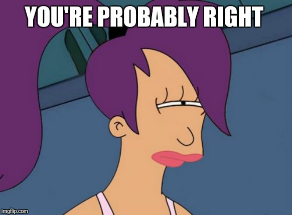Futurama Leela Meme | YOU'RE PROBABLY RIGHT | image tagged in memes,futurama leela | made w/ Imgflip meme maker