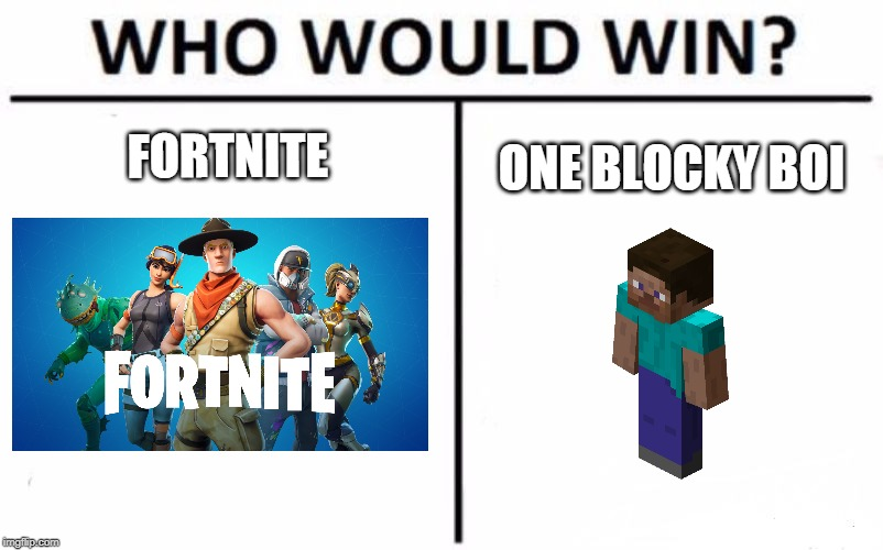 Who Would Win? | FORTNITE ONE BLOCKY BOI | image tagged in memes,who would win | made w/ Imgflip meme maker