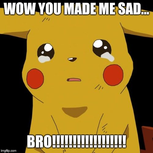 Pikachu crying | WOW YOU MADE ME SAD... BRO!!!!!!!!!!!!!!!!!! | image tagged in pikachu crying | made w/ Imgflip meme maker