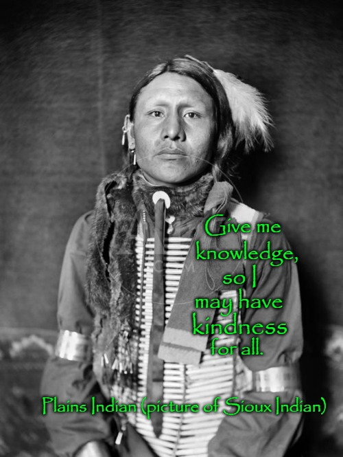 Native American Wisdom - Knowledge | Give me Plains Indian (picture of Sioux Indian) knowledge, so I may have kindness for all. | image tagged in native american,native americans,american indians,tribe,indian chief,indian chiefs | made w/ Imgflip meme maker