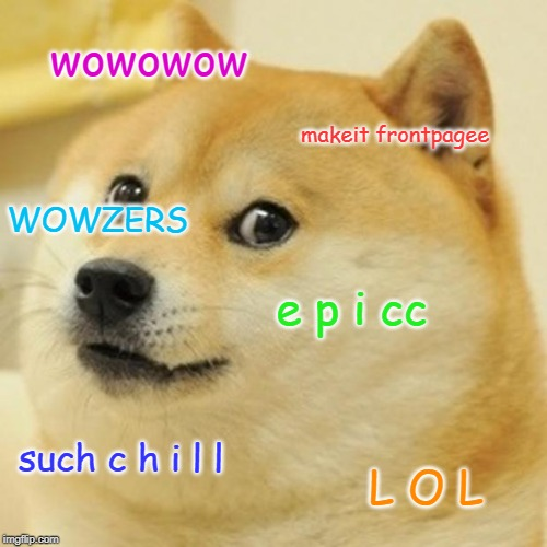 wowowow makeit frontpagee e p i cc such c h i l l L O L WOWZERS | image tagged in memes,doge | made w/ Imgflip meme maker