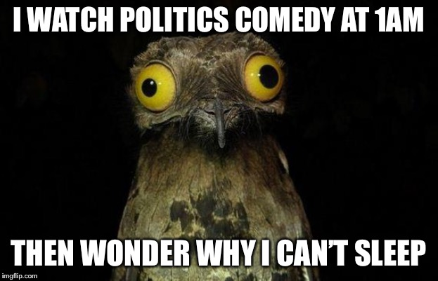 Weird Stuff I Do Potoo | I WATCH POLITICS COMEDY AT 1AM THEN WONDER WHY I CAN'T SLEEP | image tagged in memes,weird stuff i do potoo | made w/ Imgflip meme maker