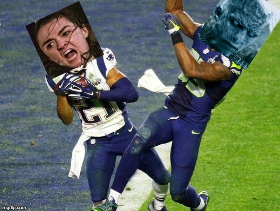 Arya Stark at the goal line! | image tagged in game of thrones,arya stark,night king,super bowl 49,long night,white walker | made w/ Imgflip meme maker