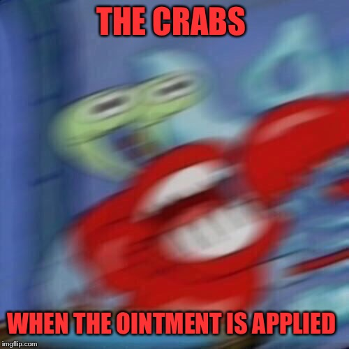 Mr krabs blur | THE CRABS WHEN THE OINTMENT IS APPLIED | image tagged in mr krabs blur | made w/ Imgflip meme maker