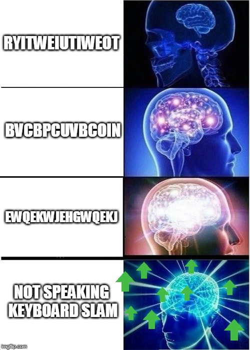 Expanding Brain Meme | RYITWEIUTIWEOT BVCBPCUVBCOIN EWQEKWJEHGWQEKJ NOT SPEAKING KEYBOARD SLAM | image tagged in memes,expanding brain | made w/ Imgflip meme maker