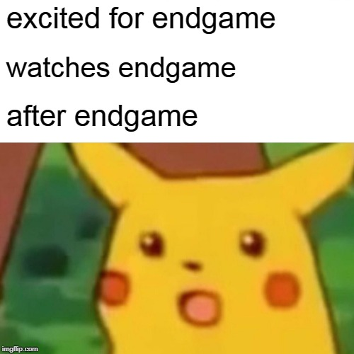 Surprised Pikachu | excited for endgame watches endgame after endgame | image tagged in memes,surprised pikachu | made w/ Imgflip meme maker