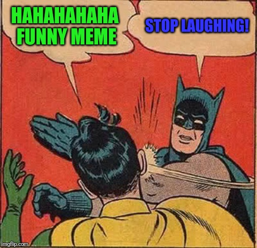 Batman Slapping Robin Meme | HAHAHAHAHA FUNNY MEME STOP LAUGHING! | image tagged in memes,batman slapping robin | made w/ Imgflip meme maker