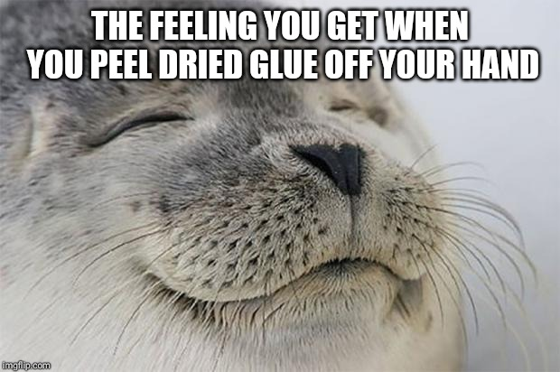 Satisfied Seal | THE FEELING YOU GET WHEN YOU PEEL DRIED GLUE OFF YOUR HAND | image tagged in memes,satisfied seal | made w/ Imgflip meme maker