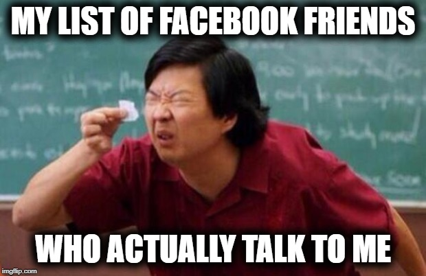 I have about 1700 Facebook friends! LOL |  MY LIST OF FACEBOOK FRIENDS; WHO ACTUALLY TALK TO ME | image tagged in list of people i trust | made w/ Imgflip meme maker