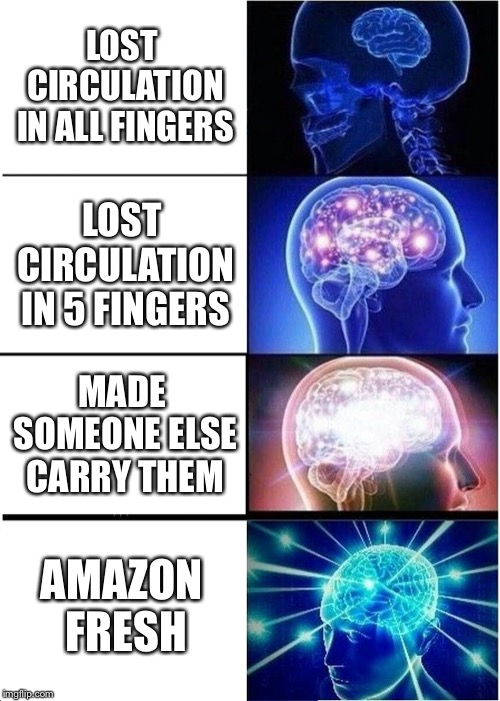 Expanding Brain Meme | LOST CIRCULATION IN ALL FINGERS LOST CIRCULATION IN 5 FINGERS MADE SOMEONE ELSE CARRY THEM AMAZON FRESH | image tagged in memes,expanding brain | made w/ Imgflip meme maker