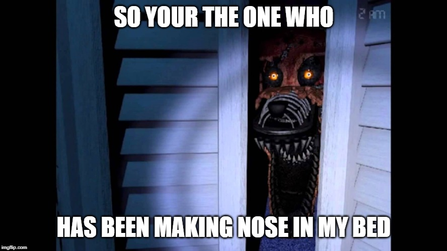 Foxy FNaF 4 |  SO YOUR THE ONE WHO; HAS BEEN MAKING NOSE IN MY BED | image tagged in foxy fnaf 4 | made w/ Imgflip meme maker