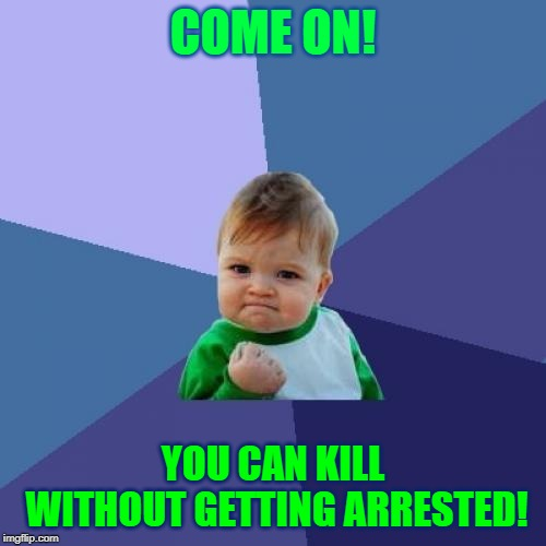 Success Kid | COME ON! YOU CAN KILL WITHOUT GETTING ARRESTED! | image tagged in memes,success kid | made w/ Imgflip meme maker