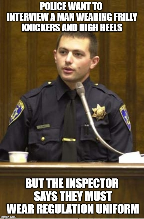 Police Officer Testifying | POLICE WANT TO INTERVIEW A MAN WEARING FRILLY KNICKERS AND HIGH HEELS BUT THE INSPECTOR SAYS THEY MUST WEAR REGULATION UNIFORM | image tagged in memes,police officer testifying | made w/ Imgflip meme maker