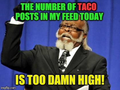 Only because I'm low-carb dieting :( | THE NUMBER OF TACO POSTS IN MY FEED TODAY IS TOO DAMN HIGH! TACO | image tagged in memes,too damn high,tacos,cinco de mayo,facebook problems,instagram | made w/ Imgflip meme maker