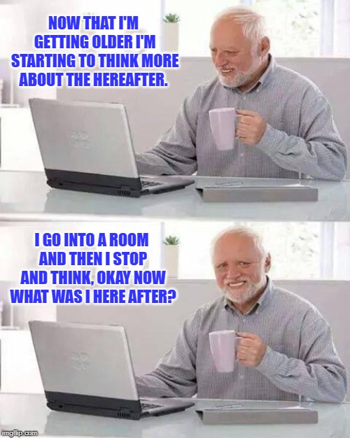 Thinking about the Hereafter | NOW THAT I'M GETTING OLDER I'M STARTING TO THINK MORE ABOUT THE HEREAFTER. I GO INTO A ROOM AND THEN I STOP AND THINK, OKAY NOW WHAT WAS I H | image tagged in memes,hide the pain harold,alzheimers | made w/ Imgflip meme maker