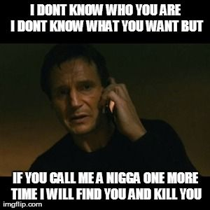 Liam Neeson Taken Meme | I DONT KNOW WHO YOU ARE I DONT KNOW WHAT YOU WANT BUT IF YOU CALL ME A N**GA ONE MORE TIME I WILL FIND YOU AND KILL YOU | image tagged in memes,liam neeson taken | made w/ Imgflip meme maker