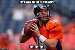 Manning Broncos Meme | FLY AWAY LITTLE SEAHAWKS... FLY, FLY, FLY... | image tagged in memes,manning broncos | made w/ Imgflip meme maker