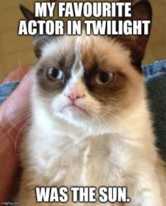 Grumpy Cat Meme | MY FAVOURITE ACTOR IN TWILIGHT WAS THE SUN. | image tagged in memes,grumpy cat | made w/ Imgflip meme maker