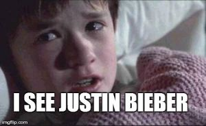 I SEE JUSTIN BIEBER | image tagged in memes,i see dead people | made w/ Imgflip meme maker
