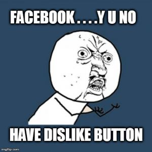 FACEBOOK . . . .Y U NO  HAVE DISLIKE BUTTON | image tagged in memes,y u no | made w/ Imgflip meme maker
