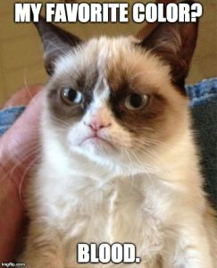 Grumpy Cat Meme | MY FAVORITE COLOR? BLOOD. | image tagged in memes,grumpy cat | made w/ Imgflip meme maker