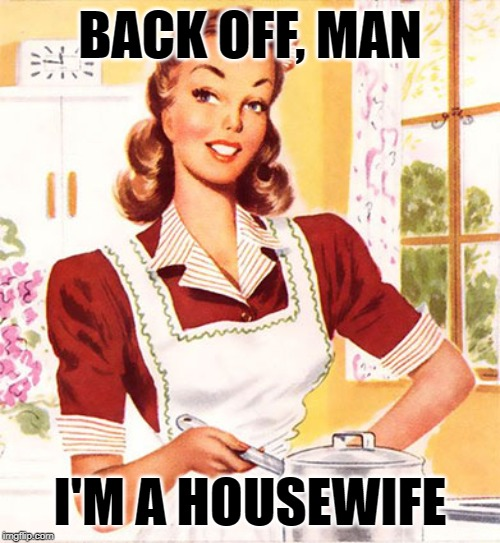 Who Ya Gonna Call? | BACK OFF, MAN I'M A HOUSEWIFE | image tagged in 50s housewife,mashup,ghostbusters,funny memes,sassy,women | made w/ Imgflip meme maker