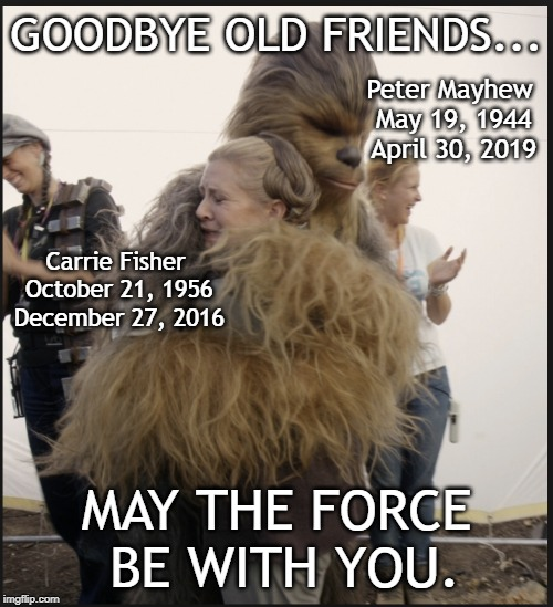 My childhood is slowly dying | GOODBYE OLD FRIENDS... MAY THE FORCE BE WITH YOU. Peter Mayhew May 19, 1944 April 30, 2019 Carrie Fisher October 21, 1956 December 27, 2016 | image tagged in carrie fisher,peter mayhew,star wars,right in the childhood | made w/ Imgflip meme maker