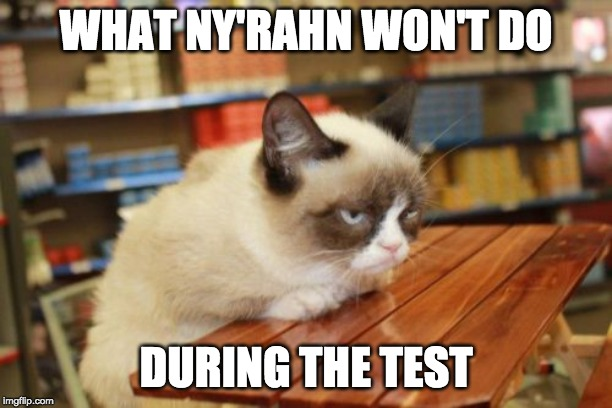 Grumpy Cat Table |  WHAT NY'RAHN WON'T DO; DURING THE TEST | image tagged in memes,grumpy cat table,grumpy cat | made w/ Imgflip meme maker