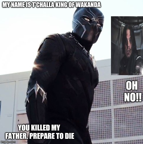 Black Panther | MY NAME IS T'CHALLA KING OF WAKANDA YOU KILLED MY FATHER. PREPARE TO DIE OH NO!! | image tagged in black panther | made w/ Imgflip meme maker