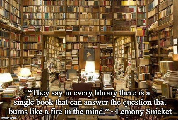 "library | ""They say in every library there is a single book that can answer the question that burns like a fire in the mind."" ~Lemony Snicket 