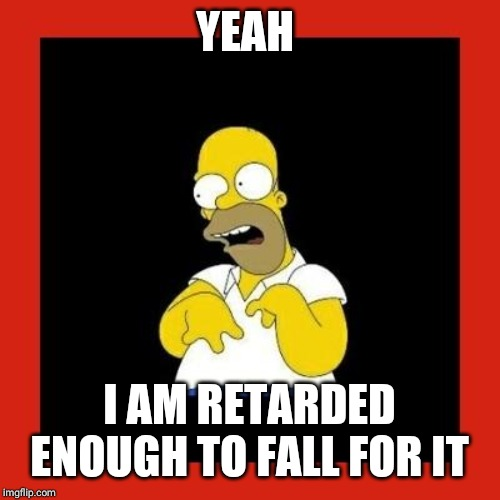 Retard homer.  | YEAH I AM RETARDED ENOUGH TO FALL FOR IT | image tagged in retard homer | made w/ Imgflip meme maker