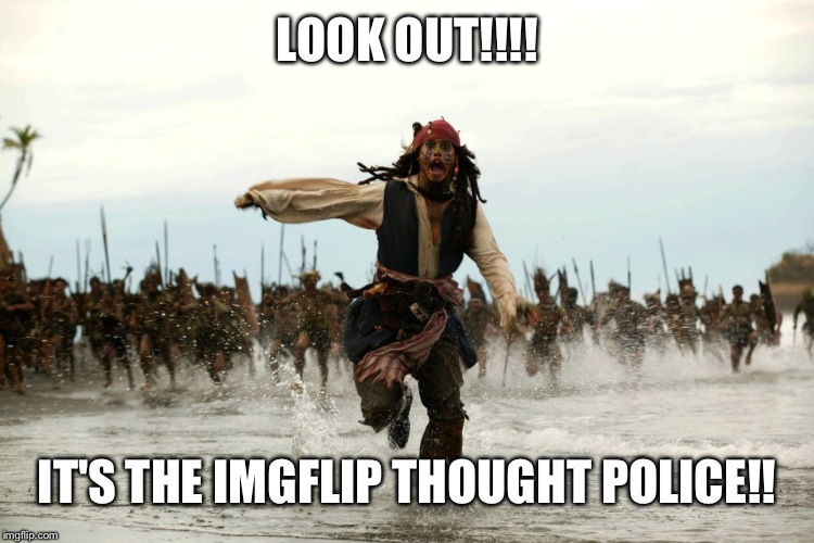 captain jack sparrow running | LOOK OUT!!!! IT'S THE IMGFLIP THOUGHT POLICE!! | image tagged in captain jack sparrow running | made w/ Imgflip meme maker