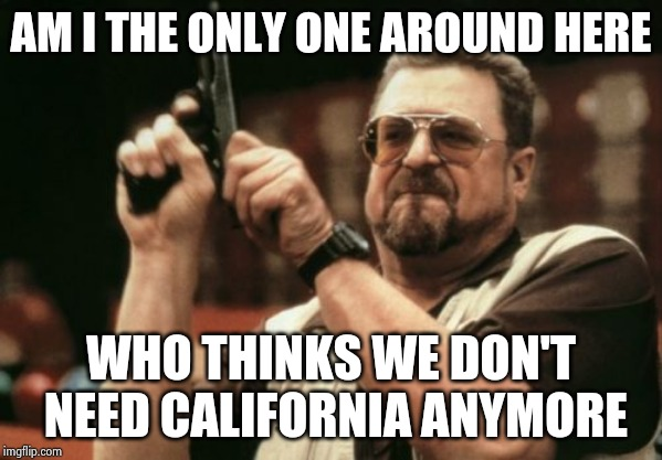 Nancy Pelosi , Adam Schiff , Maxine Waters , Diane Feinstein , need I say more | AM I THE ONLY ONE AROUND HERE WHO THINKS WE DON'T NEED CALIFORNIA ANYMORE | image tagged in memes,am i the only one around here,politicians suck,la la land,final fantasy,poop | made w/ Imgflip meme maker