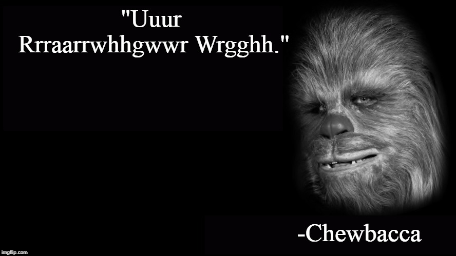 "Says it all, really. |  ""Uuur Rrraarrwhhgwwr Wrgghh.""; -Chewbacca 