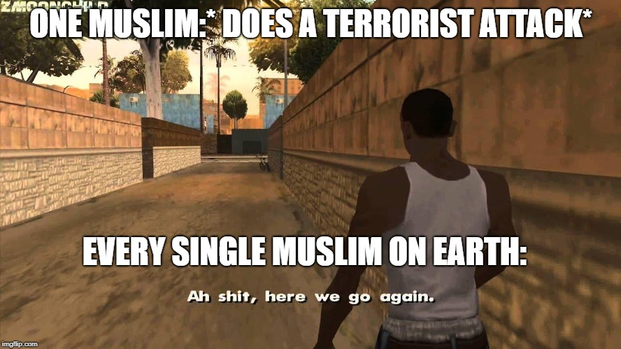 Here we go again | ONE MUSLIM:* DOES A TERRORIST ATTACK* EVERY SINGLE MUSLIM ON EARTH: | image tagged in here we go again | made w/ Imgflip meme maker