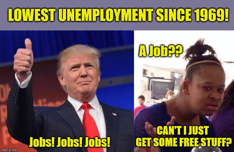 No wonder Bernie is so popular with kids today. | LOWEST UNEMPLOYMENT SINCE 1969! Jobs! Jobs! Jobs! CAN'T I JUST GET SOME FREE STUFF? A Job?? | image tagged in president trump,kids today,economy,socialism,maga,liberal logic | made w/ Imgflip meme maker