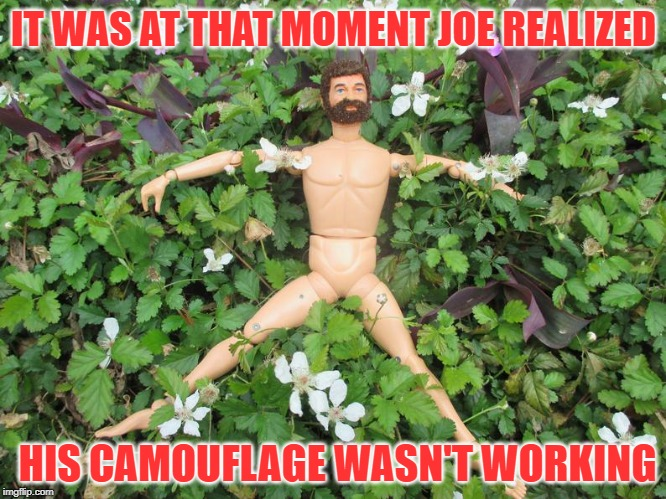 Bad Camouflage | IT WAS AT THAT MOMENT JOE REALIZED HIS CAMOUFLAGE WASN'T WORKING | image tagged in gi joe,camouflage,invisible,fail | made w/ Imgflip meme maker