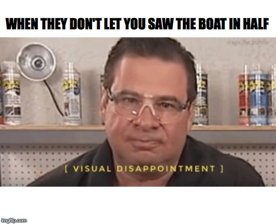 Visual Disappointment |  WHEN THEY DON'T LET YOU SAW THE BOAT IN HALF | image tagged in flex seal,funny,dissapointed,memes,oof | made w/ Imgflip meme maker