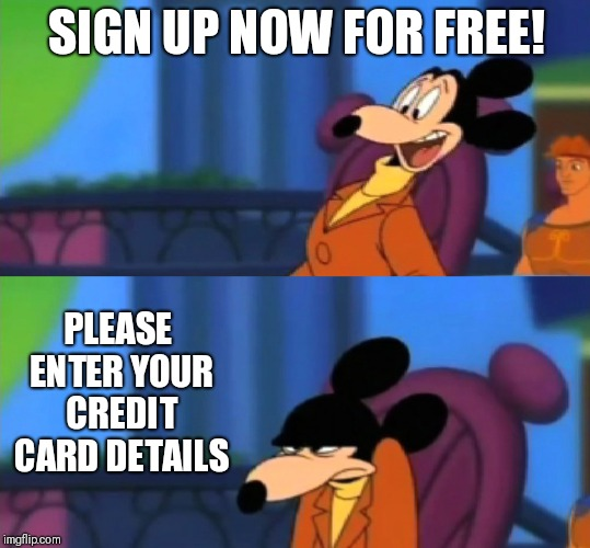 SIGN UP NOW FOR FREE! PLEASE ENTER YOUR CREDIT CARD DETAILS | image tagged in disney,credit card,scam | made w/ Imgflip meme maker