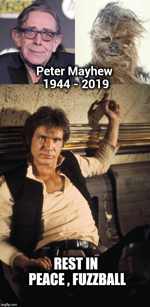 The original Chewbacca | Peter Mayhew 1944 - 2019 REST IN PEACE , FUZZBALL | image tagged in memes,han solo,star wars,chewie,rip | made w/ Imgflip meme maker