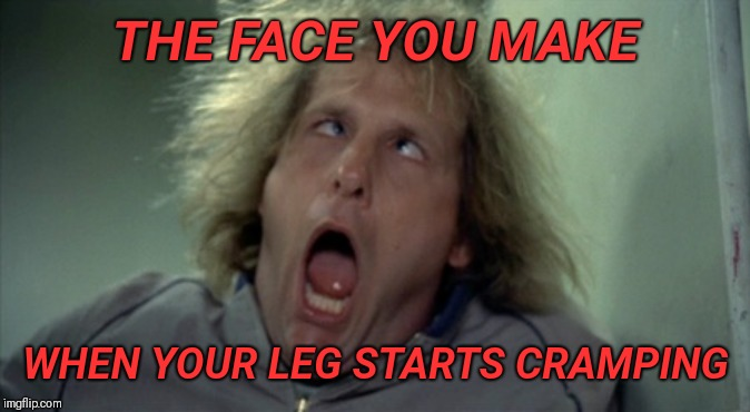 Scary Harry | THE FACE YOU MAKE WHEN YOUR LEG STARTS CRAMPING | image tagged in memes,scary harry | made w/ Imgflip meme maker