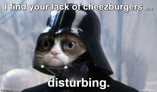 Grumpy Cat Star Wars |  I find your lack of cheezburgers ... disturbing. | image tagged in memes,grumpy cat star wars,grumpy cat,star wars,may the 4th | made w/ Imgflip meme maker