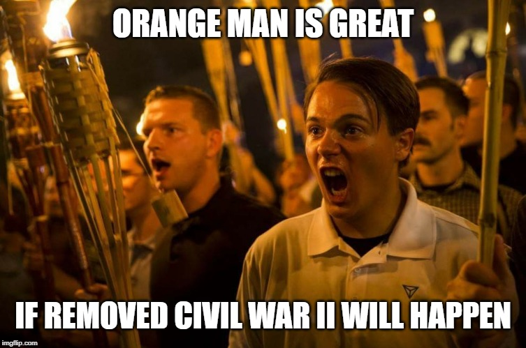ORANGE MAN IS GREAT IF REMOVED CIVIL WAR II WILL HAPPEN | image tagged in charlottesville nazis | made w/ Imgflip meme maker