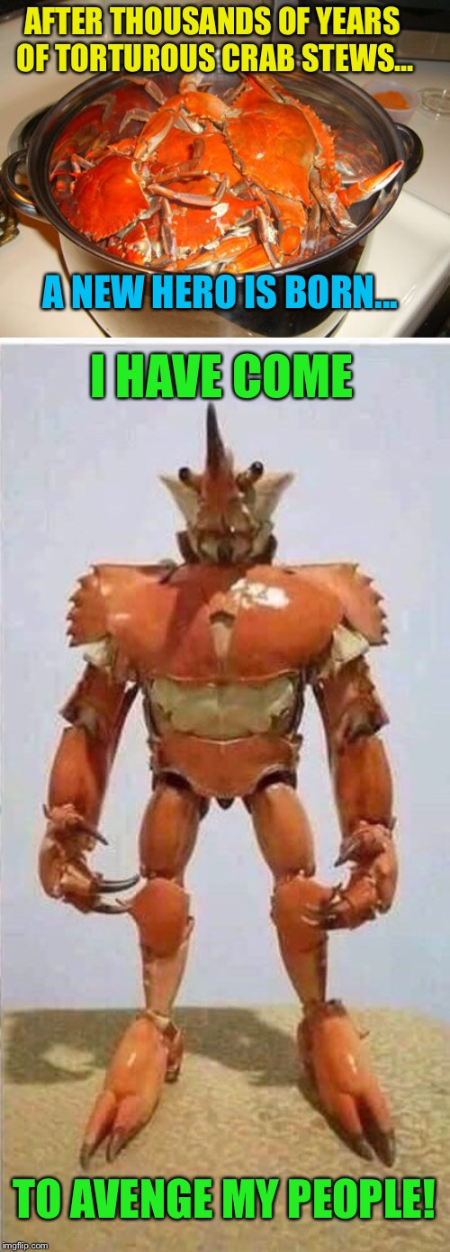 Crabman | AFTER THOUSANDS OF YEARS OF TORTUROUS CRAB STEWS... TO AVENGE MY PEOPLE! A NEW HERO IS BORN... I HAVE COME | image tagged in crab,man,superhero,funny memes | made w/ Imgflip meme maker