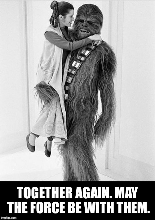 TOGETHER AGAIN. MAY THE FORCE BE WITH THEM. | image tagged in may the force be with you,may the 4th,chewbacca,rip chewy,rip chewbacca,carrie fisher | made w/ Imgflip meme maker