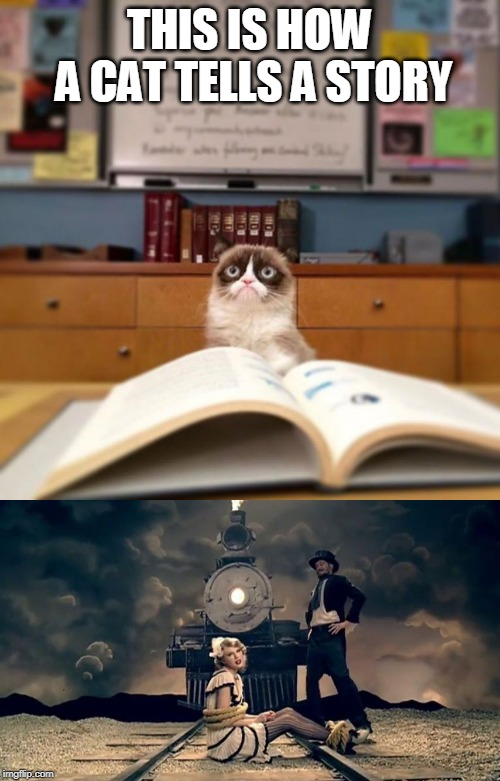 THIS IS HOW A CAT TELLS A STORY | image tagged in grumpy cat reading | made w/ Imgflip meme maker