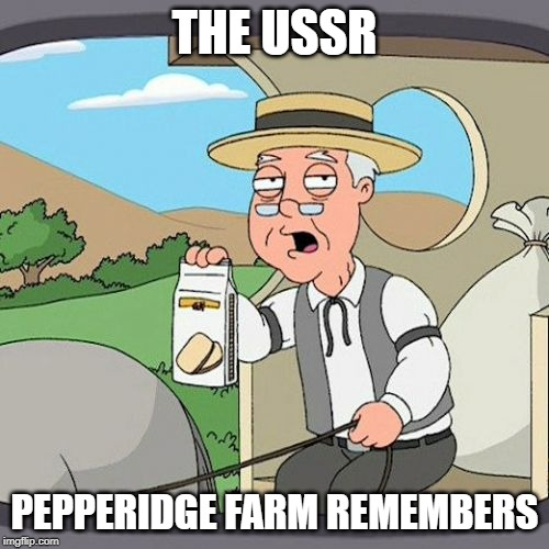 Pepperidge Farm Remembers Meme | THE USSR PEPPERIDGE FARM REMEMBERS | image tagged in memes,pepperidge farm remembers | made w/ Imgflip meme maker